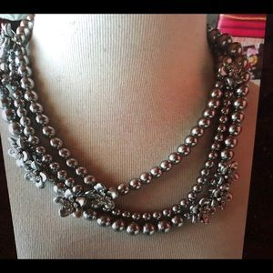 Ann Taylor colored pearl flower Heavy necklace NWT